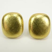 Tiffany & Co. 18K Yellow Gold Textured Square Button Earrings.