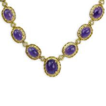 Vintage Sixteen (16) Graduated Cabochon Amethyst and 18 Karat Yellow Gold Necklace with Diamond Accents