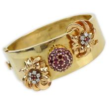 Retro 14 Karat Rose Gold, Ruby and Diamond Hinged Cuff Bangle Bracelet with De Witt, Geneva 17 Jewel Manual Movement Watch