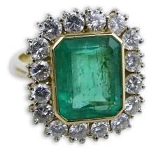 AIG Certified 5.09 Carat Rectangular Step Cut Emerald, 1.76 Carat Round Brilliant Cut Diamond and 18 Karat Yellow Gold Ring.