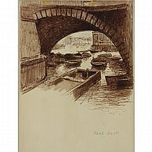 René (Ribet) Berti, Italian (1884-1939) Brown Ink on tan paper