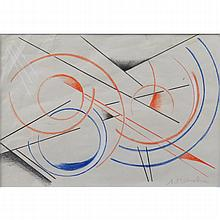 Attributed to: Liubov Sergeevna Popova, Russian (1889-1924) Pencil and crayon on paper