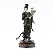 Vintage Chinese Silver Enamel Figure