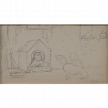 Jerome Myers, American  (1867-1940) Double Sided Pencil Sketch On Paper