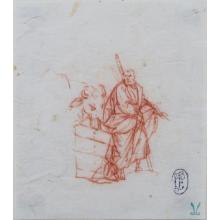17th Century Old Master Sanguine Drawing On Paper