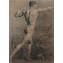 18th Century Charcoal Drawing With Heightener