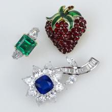 Grouping of Three (3) Vintage Gemstone Costume Jewelry