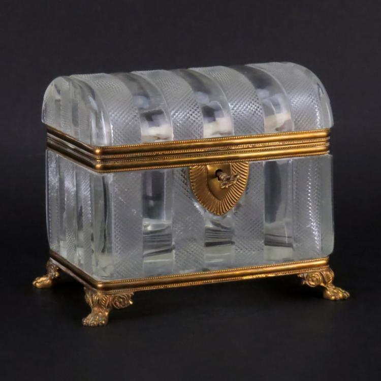 Antique French Victorian Bronze and Glass Casket Form Box