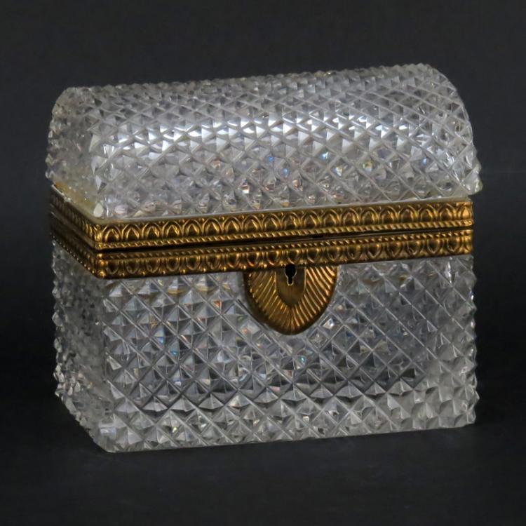 Antique Baccarat Style Crystal Casket Form Box