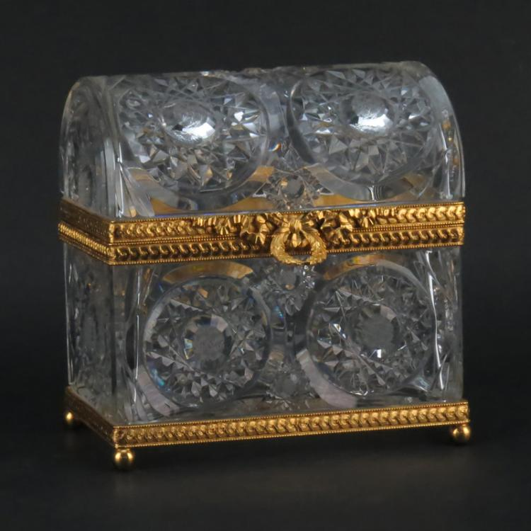Modern Baccarat Style Crystal and Gilt Bronze Casket Form Box