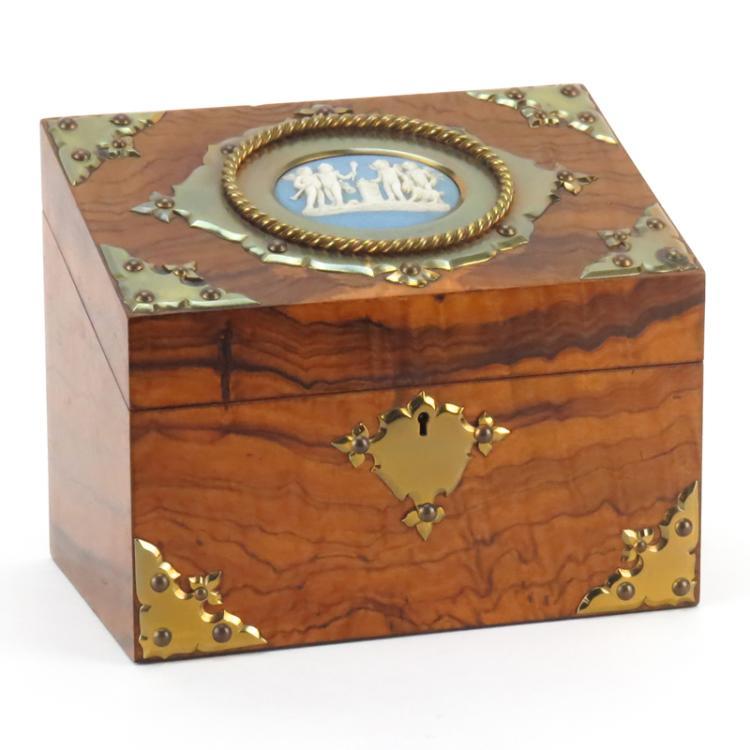 Antique English Burlwood and Brass Mounted Slant Top Box