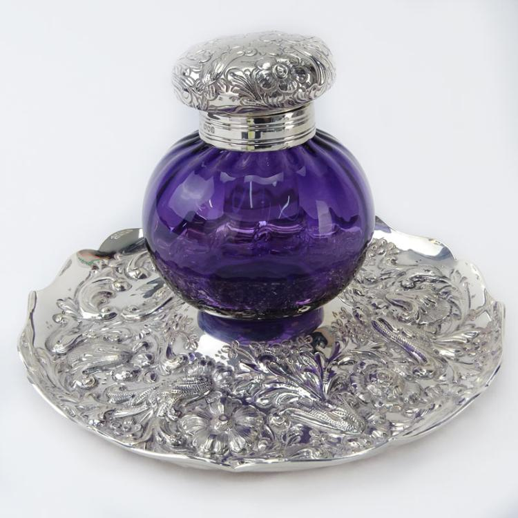 19th Century English Silver and Glass Inkwell and Tray
