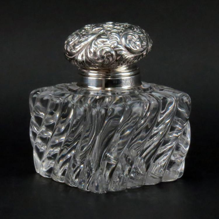 Antique Whiting Sterling and Crystal Inkwell