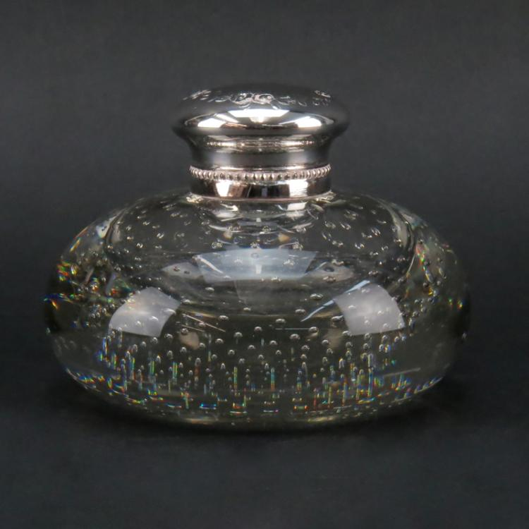 Vintage Glass and Silver Plate Inkwell