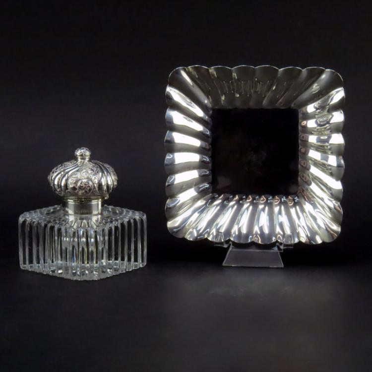 20th Century Sterling and Glass Inkwell and Tray