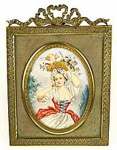 19/20th Century Possibly French Hand Painted Portrait Miniature in Gilt Bronze Louis XVI style Easel Frame. Signed Cami. Good Antique Condition. Portrait Measures 3 Inches Tall and 2-1/4 Inches Wide, Frame Measures 5 Inches Tall and 3-5/8 Inches