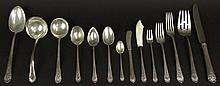 Eighty-Seven (87) Piece Set Towle Sterling Silver Flatware in the Royal Windsor Pattern. This Set includes: 8 Forks, 7-7/8 Inches; 8 Salad Forks, 6-5/8 Inches; 8 Cocktail Forks, 5-5/8 Inches; 8 Soup Spoons, 7 Inches; 16 Teaspoons, 6 Inches; 8 Fruit