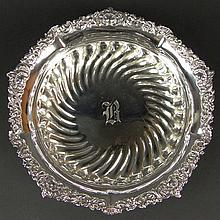 19th C Sterling Silver Ribbed Serving Bowl With Ornate Rim. Monogrammed R. Signed with Fuchs and Beiderhase Hallmark and STERLING, 1073. Good Condition. Measures 2 Inches Tall, 10 Inches Diameter and weighs 16.40 Troy Ounces. Domestic Shipping $58.00
