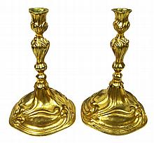 Important Pair of 19th Century or Earlier Heavy Gilt Bronze Candlesticks Bearing the Crest of the Russian Noble Sheremetev Family. The Sheremetev Family was one of the wealthiest and most influential noble families of Russia. Unsigned. Rubbing