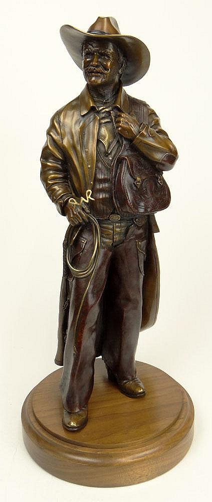 Mark Lundeen, American (20th C) Patinated Bronze on Revolving Wood Base.