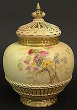 Large 19th C Royal Worcester Porcelain Hand Painted Covered Jar. Features a Floral Motif with Gilt Accents. Two Lids, One Standard, the other reticulated with Finial. Signed with Royal Worcester Back Stamp on Bottom and dots dating the vase 1895.