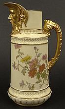 19th C Royal Worcester Porcelain Hand Painted Ewer. Features Figural Spout as well as a Floral Motif with Gilt Accents. Signed with Royal Worcester Back Stamp on Bottom and Date Letter O dating the Ewer 1889. Light Wear to Gilt Décor. Measures 8