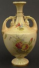 19th C Royal Worcester Porcelain Hand Painted Handled Vase. Features a Floral Motif with Gilt Accents. Signed with Royal Worcester Back Stamp on Bottom and 3 dots dating the vase 1894. Light Wear to Gilt Décor. Measures 10-1/4 Inches Height. Shipping