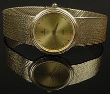 Lady's Vintage Concord 14 Karat Yellow Gold Bracelet Quartz Watch. Signed. Minor Surface Wear, Small Scratch to Crystal Otherwise Good Condition in Original Box. Needs New Battery. Case Measures 25mm, Bracelet Measures 6-5/8 Inches Long. Approx.