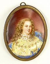 19/20th Century Hand Painted Porcelain Miniature with Bronze Frame