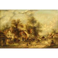 "Georgina Lara, British (fl.1862 - 1871) Oil on Canvas ""Village Scene."" Tag signed G. La'ra , titled,"