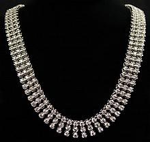 Lady's 14.5 Carat Round Brilliant Cut Diamond and 14 Karat White Gold Choker style Riviera Three (3) Row Necklace. Diamonds G-H Color, VS2-SI2 Clarity. Measures 3/8 Inch Wide and 19-1/2 Inches Long. Shipping $34.00
