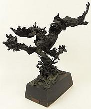 Ezio Martinelli, American (1913-1981) Large Abstract Bronze Sculpture Mounted on Original Plinth Base. Dark Green Patina. Signed on Bronze Tag on Base. Good Antique Condition, with Wear to Base. Measures 18 Inches Tall by 17 Inches Wide including