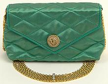 Retro Chanel Quilted Green Satin Evening Bag with Jeweled Snap Closure. Multi Chains and Jeweled Gold Tone Shoulder chain. Original Dust Bag. Embossed Signature inside, Double C on Snap Closure. Leather Lining. Good Gently Used Condition, Minor