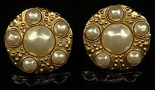 Pair Retro Chanel Faux Pearl Gold Tone Clip On Earrings. Signed on Back Chanel, Made In France, 2 3. Good Condition. Measures 1-1/2 Inches Diameter. Domestic Shipping $28.00