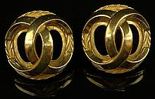 Pair Retro Chanel Logo Gold Tone Clip On Earrings. Good Condition. Measures 1-1/8 Inches Diameter. Domestic Shipping $28.00