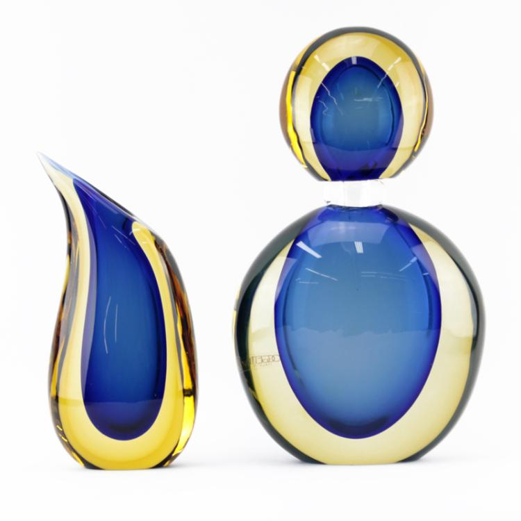 Grouping of Two (2) Luigi Onesto, Italian (b-1935) Oggetti Murano Art Glass Bottle and Vase
