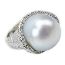 South Sea Pearl, Pave Set Diamond and 18 Karat White Gold Ring.