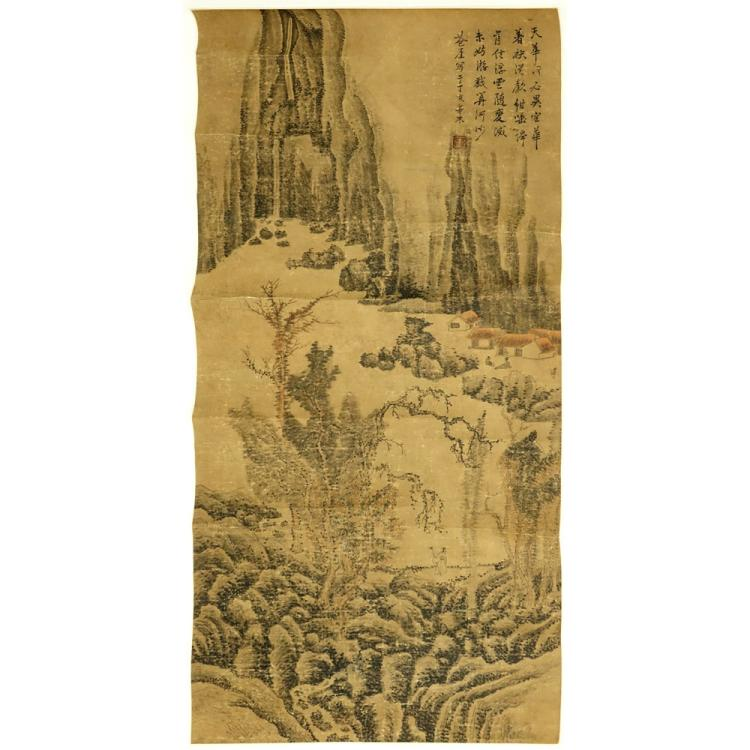 Antique Scrollimgs: Antique Chinese Hand Painted Scroll On Paper