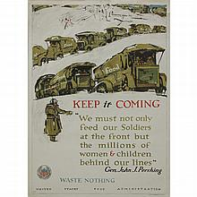 "George Illian, American (1894-1932) Original 1918 World War I ""Keep it Coming"""