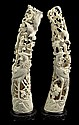 Matched Pair of 19th Century Finely Carved Chinese Ivory Tusks