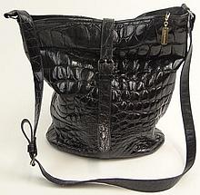 Lady's Vintage French Jean Marlaix La Baggerie Black Crocodile Shoulder Bag with Gold Tone Hardware. Signed. Surface Wear Consistent with Normal Use Otherwise Good Condition or Better. Measures 12 Inches Tall and 11 Inches Wide. Shipping $48.00