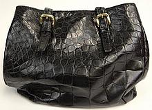 Mauro Governa Dark Brown Crocodile Lady's Hand Bag with Suede Interior. Signed Mauro Governa, Made in Italy. Well Used but Overall Good Condition or Better. Measures 10-3/4 Inches Tall by 13-3/8 Inches Wide. Shipping $26.00