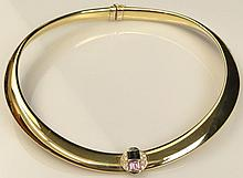 Lady's Vintage 18 Karat Yellow Gold, Diamond, and Pink and Green Tourmaline Hinged Cuff Necklace. Signed 750 and Maker's Mark. Minor Surface Wear and Very Small Ding and Crease Otherwise Good Condition or Better. Measures Approximately 1/2 Inch Wide,