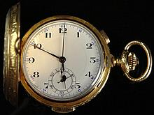 19/20th Century Swiss Made 18 Karat Yellow Gold Hunter's Case Quarter Hour Repeater Pocket Chronograph. Signed 18K and