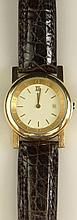 Lady's Vintage Bulgari Swiss Made 18 Karat Yellow Gold Quartz Movement Watch, with 18K Yellow Gold Buckle, Sapphire Crystal and Crocodile Strap. Both Watch and Buckle Signed Bulgari, 18K, 750 and Hallmarked. Not Running (probably needs a new