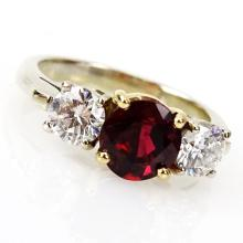 Vintage Approx. 1.99 Carat Round Brilliant Cut Ruby, .90 Carat Round Brilliant Cut Diamond and 18 Karat Yellow and White Gold Ring