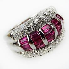 Approx. 2.10 Carat Invisible Set Ruby, 1.30 Carat Pave set Diamond and Platinum Ring. Rubies with vivid saturation of color