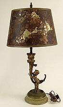 Antique Bronze on Marble Cherub Torchere Lamp. Unsigned. Wear and Losses or in otherwise Good Antique Condition. Measures 24 Inches Tall. Shipping $75.00