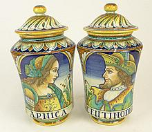 Pair of Italian Majolica Ceramic Cannisters by Martini Marisa Siena.