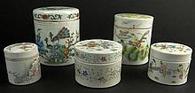 A Lot of Five (5) 19/20th Century Chinese Porcelain Round Boxes. The Group includes 1 Decorated with Peacock and Caligraphy, 5-1/4 Inches Tall, 4-3/8 Inches Diameter, Signed Illegible; 1 Decorated in a Butterfly Motif, unsigned, Measures 4-1/2 Inches
